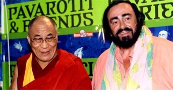 DALAI LAMA AND PAVAROTTI Luciano Pavarotti and his Friends, an organization created to help and support carity organizations around the world, a big concert every summer in Modena Italy with Brian May from Queen, Steve Wonder, George Michael, Zucchero, Laura Pausini, Lady Diana as special guest, The Spice girls, Andrea Bocelli, Bono from U2, Liza Minelli, and an incredible list of international guest coming to help childrens as Luciano's Friends
