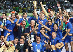 WE ARE THE FOOTBALL SOCCER WORLD CHAMPIONS... For only the second time in World Cup history, the final was settled on a penalty shootout. Fabio Grosso, the goal hero in the semifinal against Germany, scored the winning penalty for four-time champions Italy... Materazzi had been busy at both ends of the field. The Italian defender conceded a penalty and scored a goal in the first half to even the match against France at 1-1 in the World Cup final