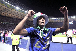 Marco Materazzi ... WE ARE THE FOOTBALL SOCCER WORLD CHAMPIONS... For only the second time in World Cup history, the final was settled on a penalty shootout. Fabio Grosso, the goal hero in the semifinal against Germany, scored the winning penalty for four-time champions Italy... Materazzi had been busy at both ends of the field. The Italian defender conceded a penalty and scored a goal in the first half to even the match against France at 1-1 in the World Cup final