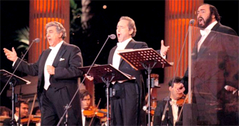 THE THREE TENORS an incredible TRIO in 1997 the three tenors- Placido Domingo, Jose Carreras and Pavarotti-- toured to mixed reviews but delighted audiences who seemed unwilling to let Pavarotti even think of retiring. A Christmas album and video, The Three Tenors Christmas, appeared in 2000